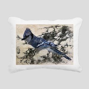 winter snow blue Jay nat Rectangular Canvas Pillow