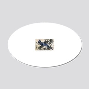 winter snow blue Jay nature  20x12 Oval Wall Decal