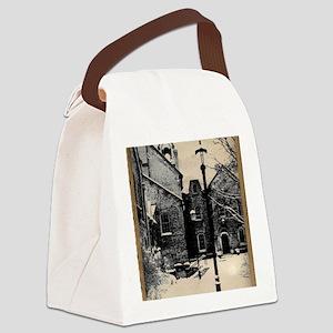 vintage historical montreal build Canvas Lunch Bag