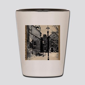 vintage historical montreal building ro Shot Glass