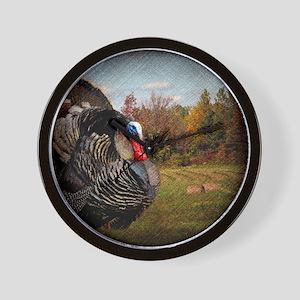vintage fall turkey farm landscape Wall Clock