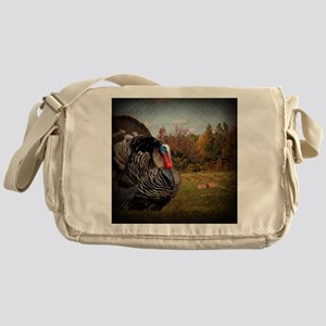 vintage fall turkey farm landscape Messenger Bag