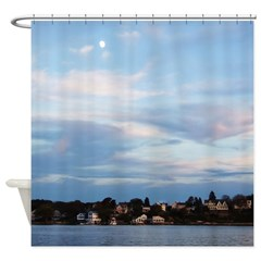 Moon Over Rockport Shower Curtain