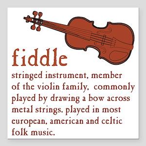 """Fiddle Definition T-Shir Square Car Magnet 3"""" x 3"""""""
