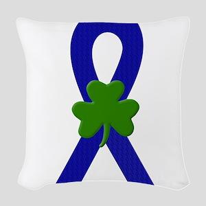 Blue Shamrock ribbon Woven Throw Pillow