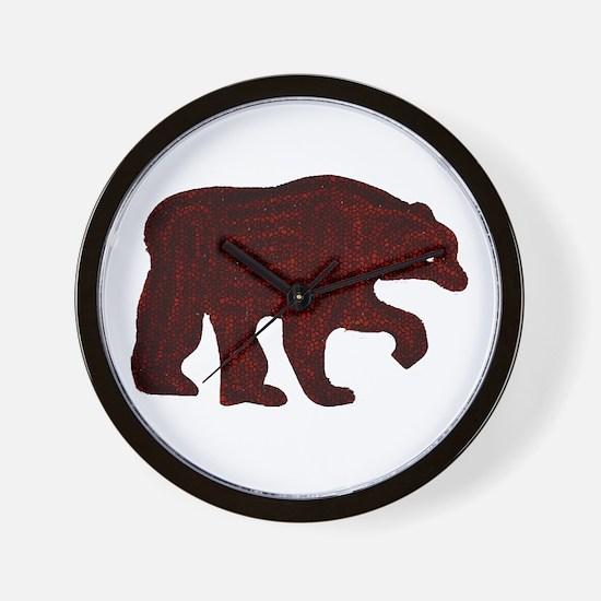 BROWN BEAR WALKING Wall Clock