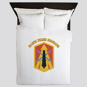 SSI - 214th Fires Brigade With Text Queen Duvet