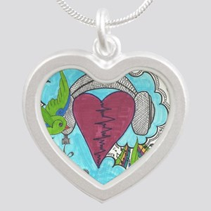 Music Pulse Silver Heart Necklace