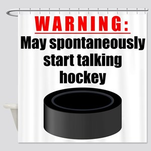 Spontaneous Hockey Talk Shower Curtain