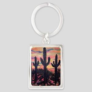 Saguaro cactus, southwest art Keychains