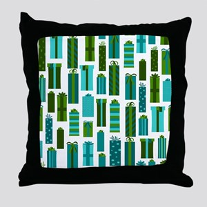 Green and Blue Wrapped Present Holiday Print Throw