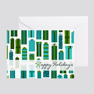 Green and Blue Wrapped Present Happy Holiday Greet
