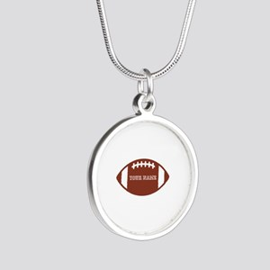 Custom name Football Silver Round Necklace