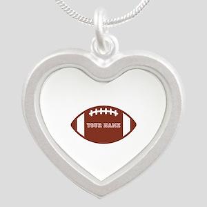 Custom name Football Silver Heart Necklace