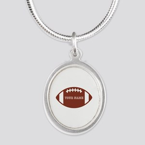 Custom name Football Silver Oval Necklace