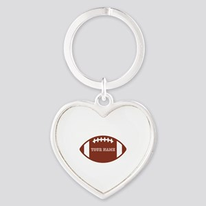 Custom name Football Heart Keychain