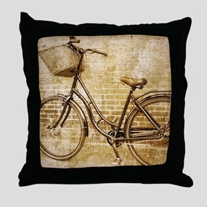 vintage Bicycle fashion art Throw Pillow