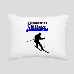 Id Rather Be Skiing Rectangular Canvas Pillow