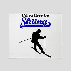Id Rather Be Skiing Throw Blanket