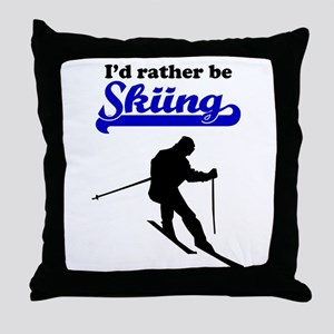 Id Rather Be Skiing Throw Pillow