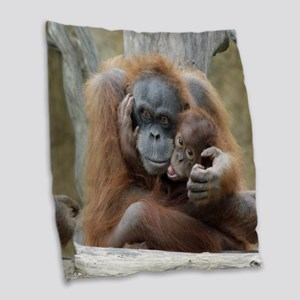 OrangUtan001 Burlap Throw Pillow