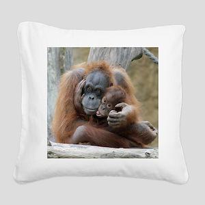 OrangUtan001 Square Canvas Pillow