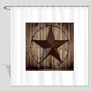 barnwood texas star Shower Curtain