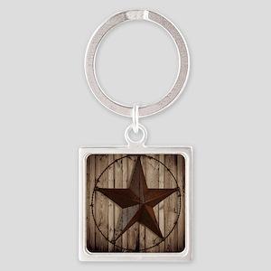 barnwood texas star Square Keychain