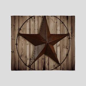 barnwood texas star Throw Blanket