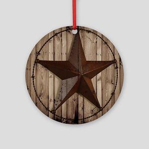 barnwood texas star Round Ornament