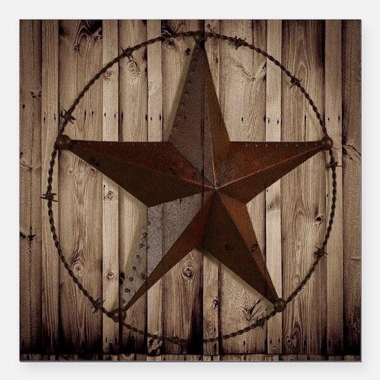 "barnwood texas star Square Car Magnet 3"" x 3"""