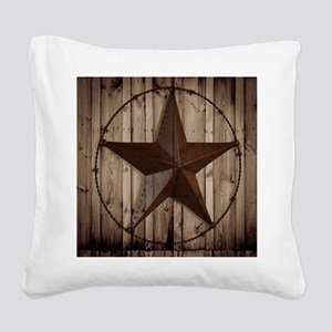 barnwood texas star Square Canvas Pillow