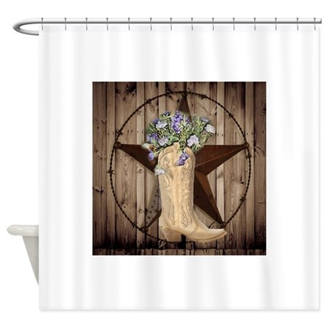 floral cowboy boots texas star Shower Curtain