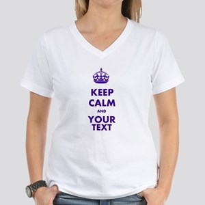 Personalized Keep Calm Women's V-Neck T-Shirt