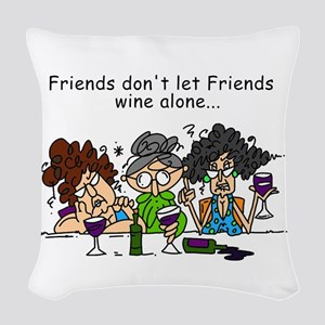 Friends and Wine Woven Throw Pillow