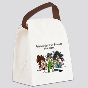 Friends and Wine Canvas Lunch Bag