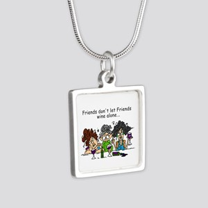 Friends and Wine Silver Square Necklace