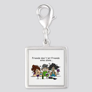 Friends and Wine Silver Square Charm
