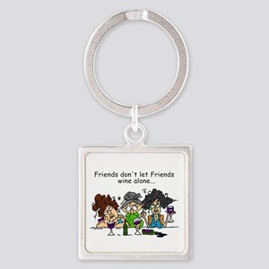 Friends and Wine Square Keychain