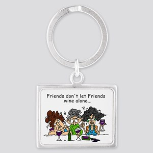 Friends and Wine Landscape Keychain