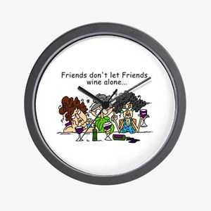 Friends and Wine Wall Clock