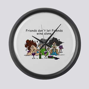 Friends and Wine Large Wall Clock
