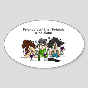 Friends and Wine Sticker (Oval)