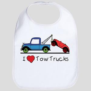 I Love Tow Trucks Baby Bib