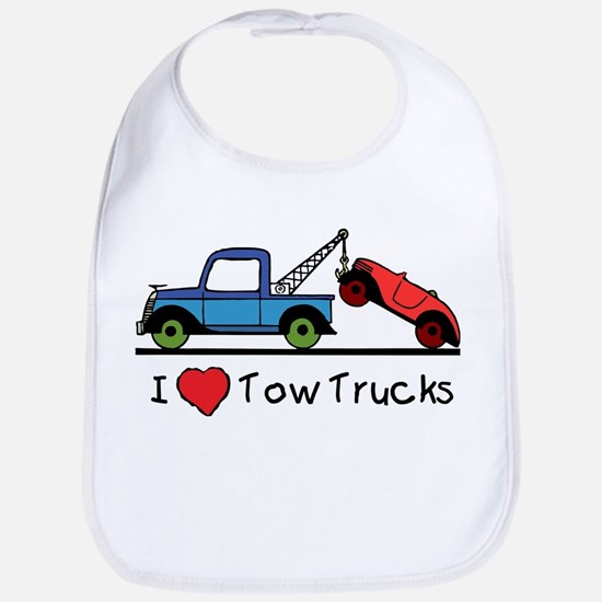 I Love Tow Trucks Baby Bib