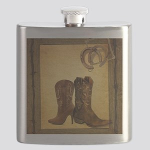 barnwood cowboy boots horseshoe Flask