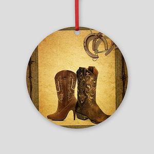 barnwood cowboy boots horseshoe Round Ornament