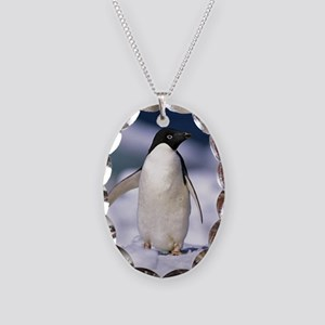 Penguin Necklace Oval Charm