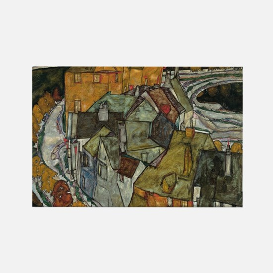 Island Town by Egon Schiele Rectangle Magnet