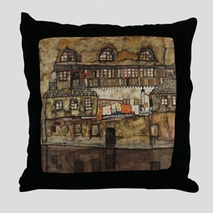 House Wall on the River by Egon Schie Throw Pillow